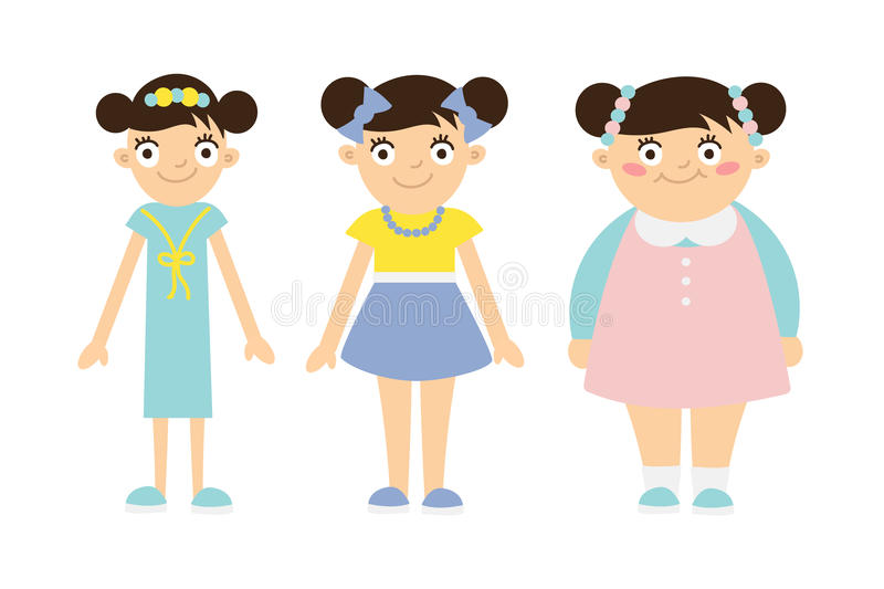 From thin to fat kid. stock illustration