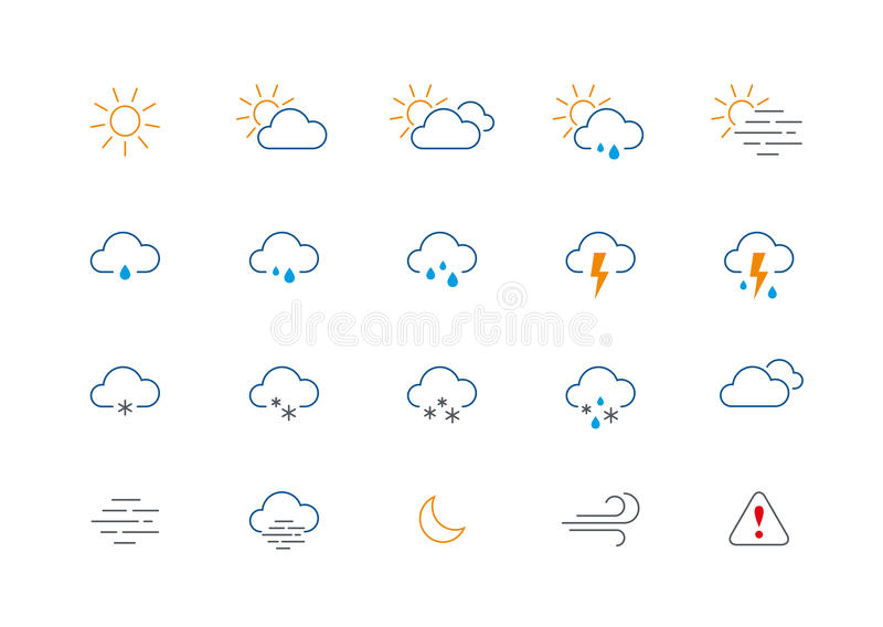 Thin Weather Colour Icon Set Stock Vector - Illustration of line ...