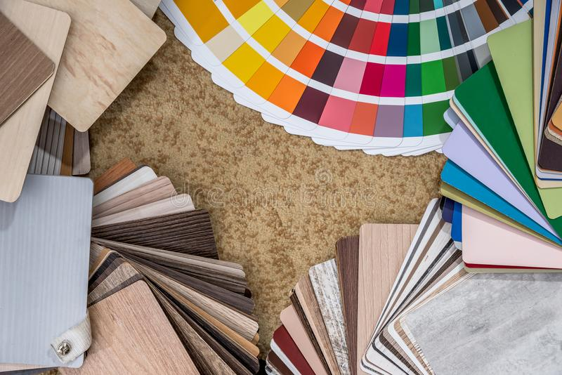 Thin wood palette guide for interior design.  stock photo