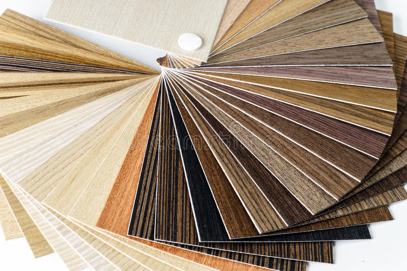 Thin wooden samples sheaf. Interior design industry royalty free stock photos