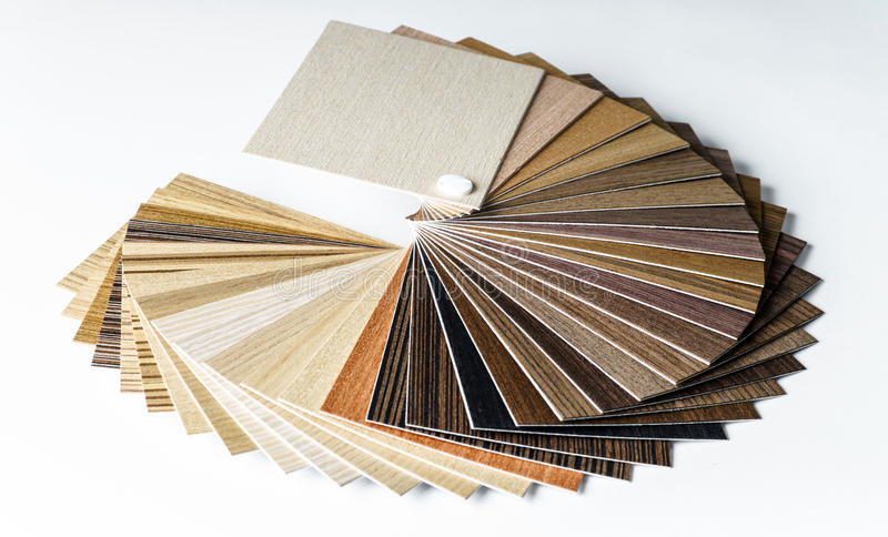 Thin wooden samples sheaf. Interior design industry stock photos