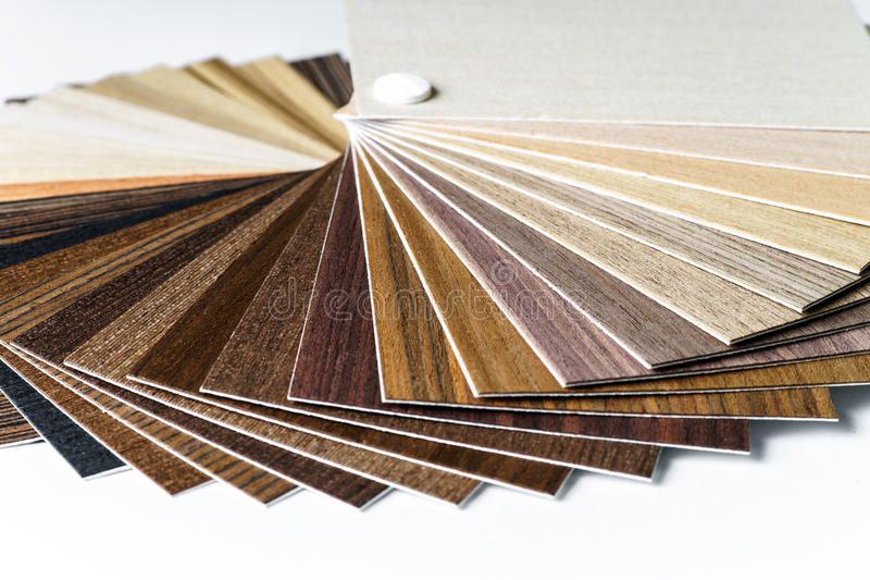 Thin wooden samples sheaf. Interior design industry royalty free stock photography