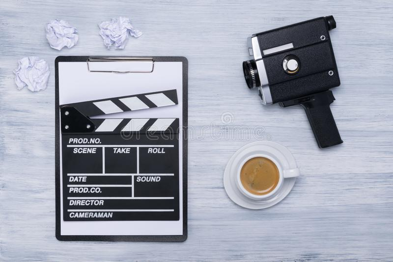 Things for filming on a light gray table royalty free stock photos