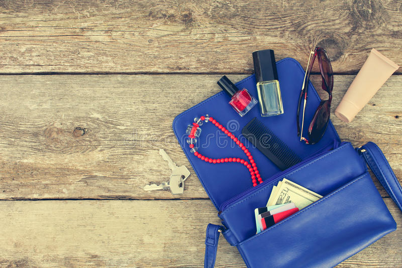 Things from open lady purse. royalty free stock image