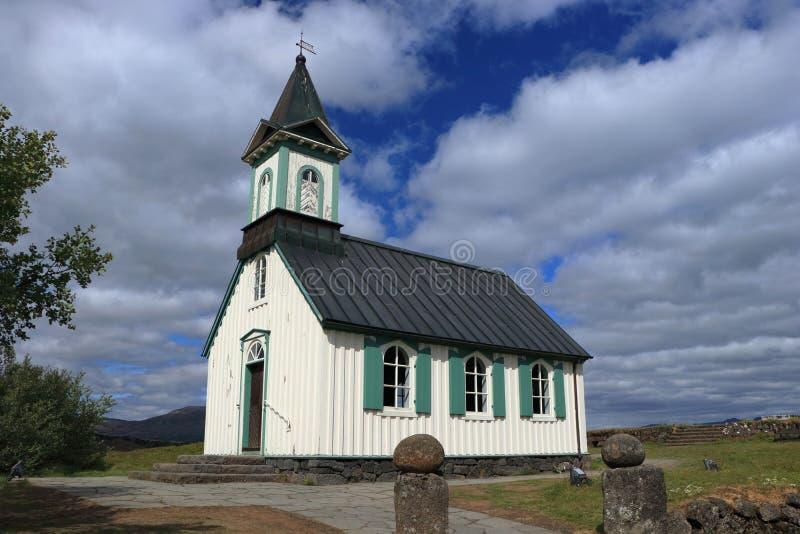 Thingvallakirkja historique chez Thingvellir, parc national de Thingvellir, Islande occidental images libres de droits