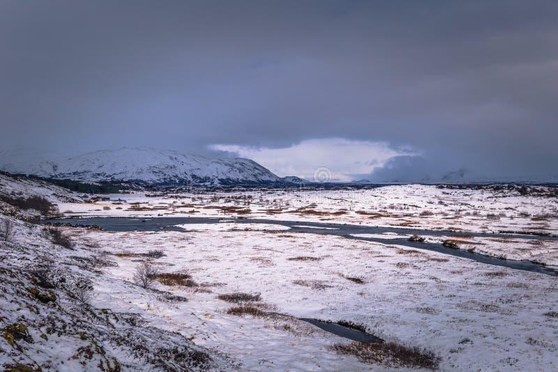 Thingvellir - May 03, 2018: Panorama of Thingvellir National Park, Iceland stock photography