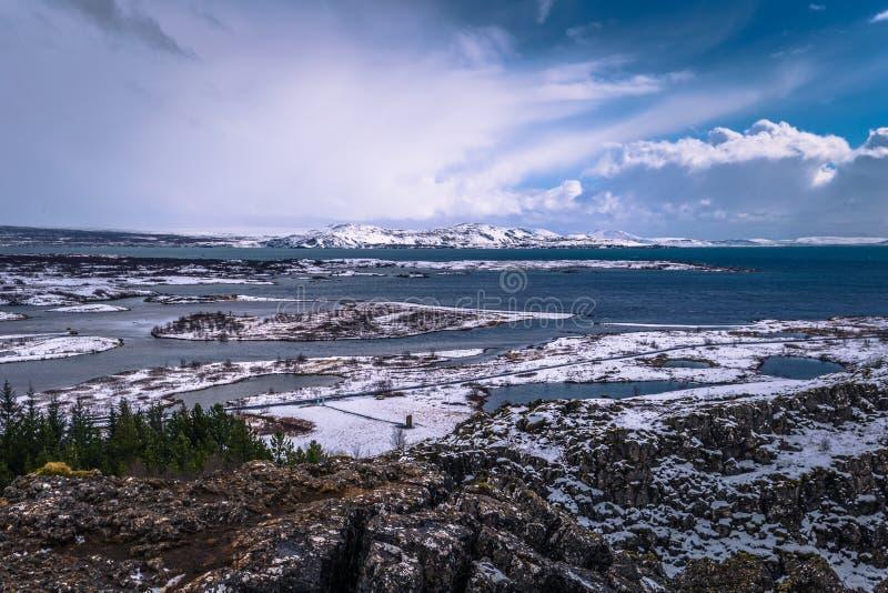 Thingvellir - May 03, 2018: Panorama of Thingvellir National Park, Iceland royalty free stock images