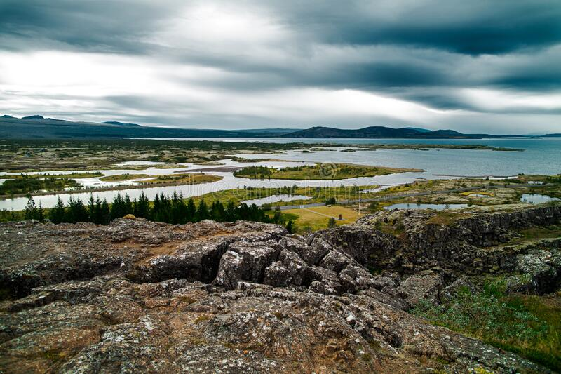 Thingvellir National Park. In Iceland. Beautiful view of the  rift valley stock image