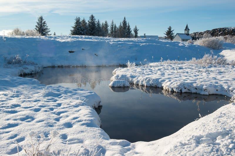 Thingvellir nationalpark i vinter, Island royaltyfri fotografi