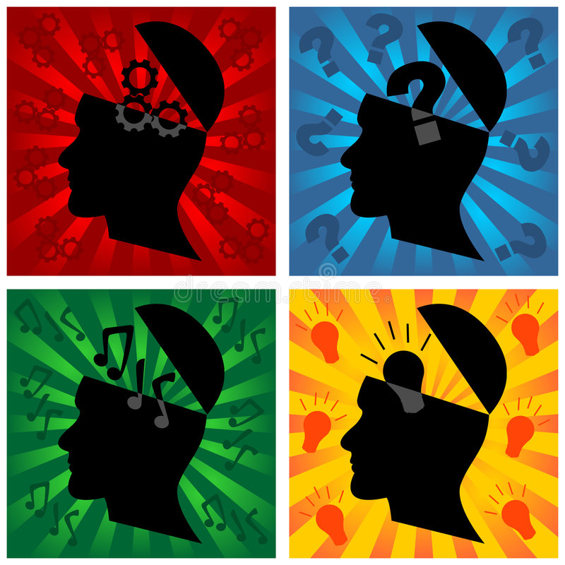 Think. Head silhouette representing different thoughts stock illustration