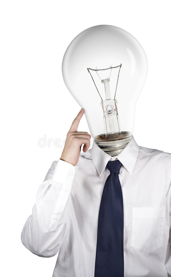 Think. Stylization of think (businessman with bulb instead of head royalty free stock photography