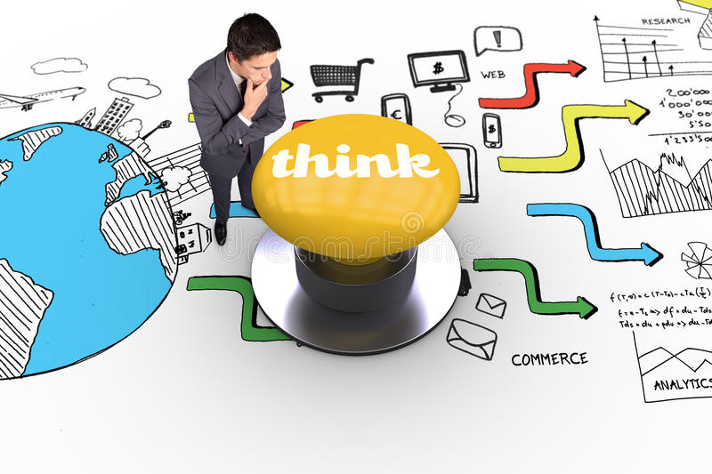 Think against yellow push button. The word think and thinking businessman touching his chin against yellow push button royalty free stock images