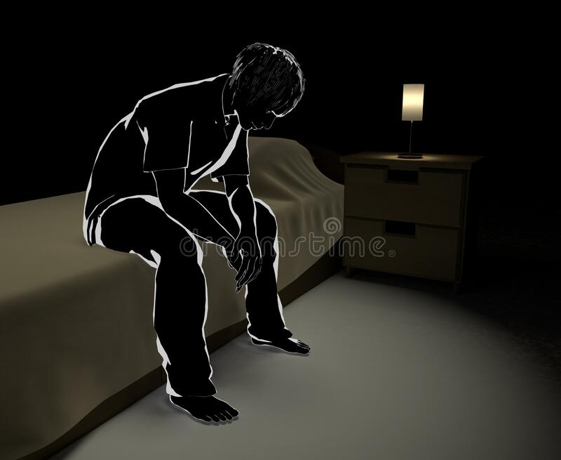 Think alone at midnight. Men who endure loneliness. A man who has trouble. 3D illustration stock illustration
