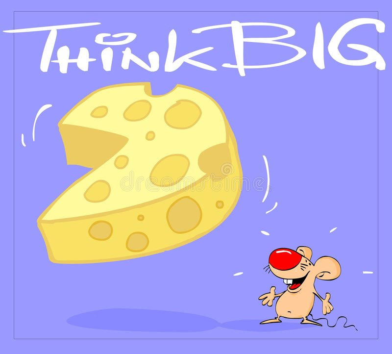 Think big. Mouse and cheese postcard with message