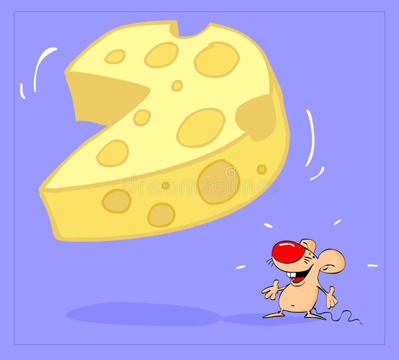 Think big. Mouse looking at big piece of cheese