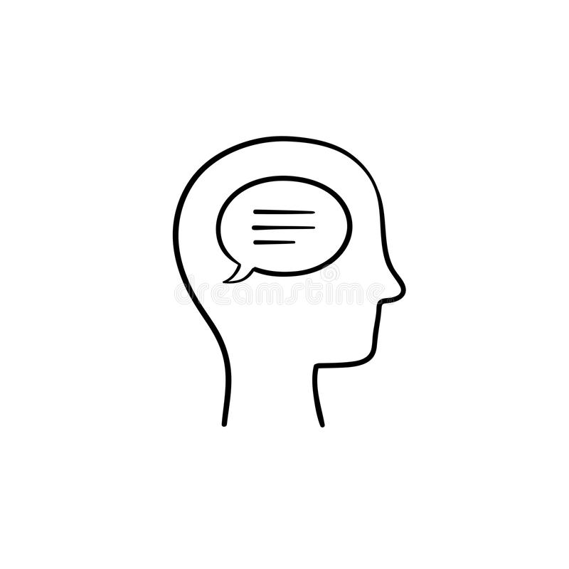 Think bubble in humans head hand drawn outline doodle icon. Humans mind and brain, idea vector sketch illustration for print, web, mobile and infographics on vector illustration