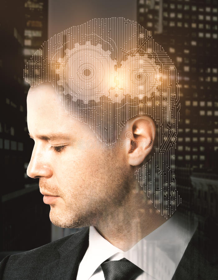 Think concept. Businessman with abstract mesh head and cogwheels on night city background. Think concept. Double exposure stock photography