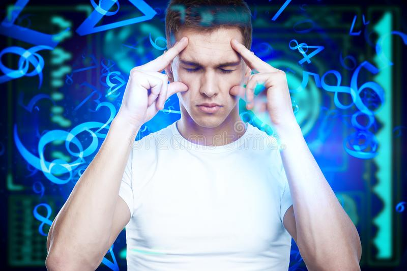 Think and cyberspace concept stock images