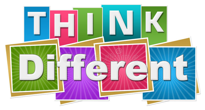 Think Different Colorful Squares Rays Stripes vector illustration