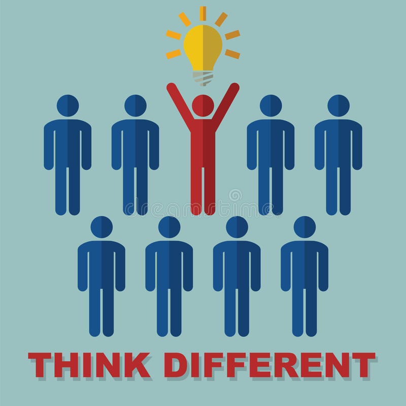 Think different concept. Think different, idea vector concept stock illustration