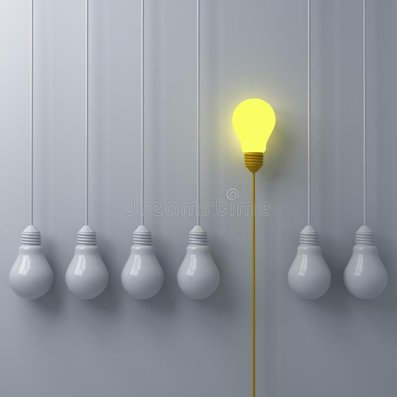 Think different concept One glowing light bulb standing out from the dim or unlit white lightbulbs on white wall background royalty free illustration