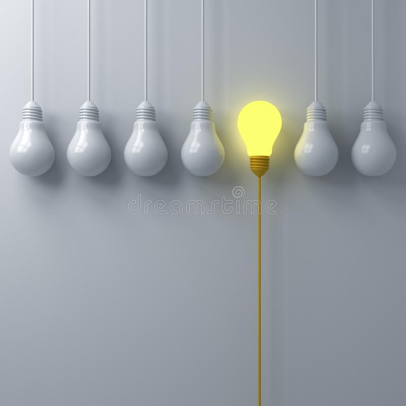 Think different concept One glowing light bulb standing out from the dim or unlit white lightbulbs on white wall background with s royalty free illustration
