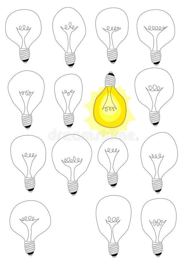 Download Think different idea lamps stock illustration. Illustration of greeting - 31041534
