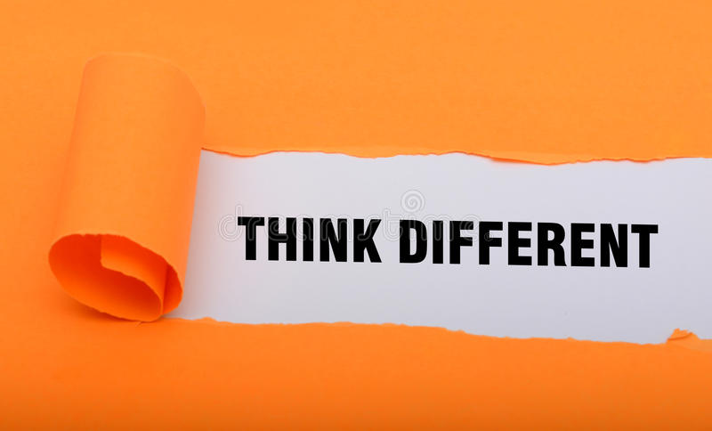Think Different word paper fold concept graphics.  royalty free stock photography