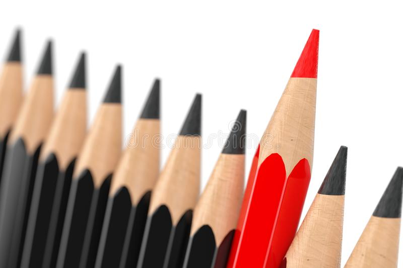 Think Differently Business Concept. Red Pencil Standing Out of Black Pencil Row. 3d Rendering royalty free illustration