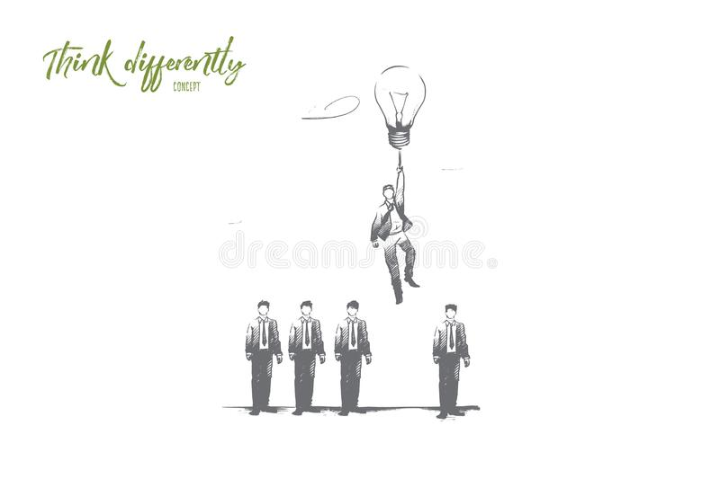 Think differently concept. Hand drawn isolated vector. vector illustration