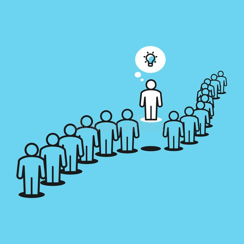 Think differently metaphor with people in the queue and one person outside the queue. Flat design, easy to use for your website or presentation stock illustration