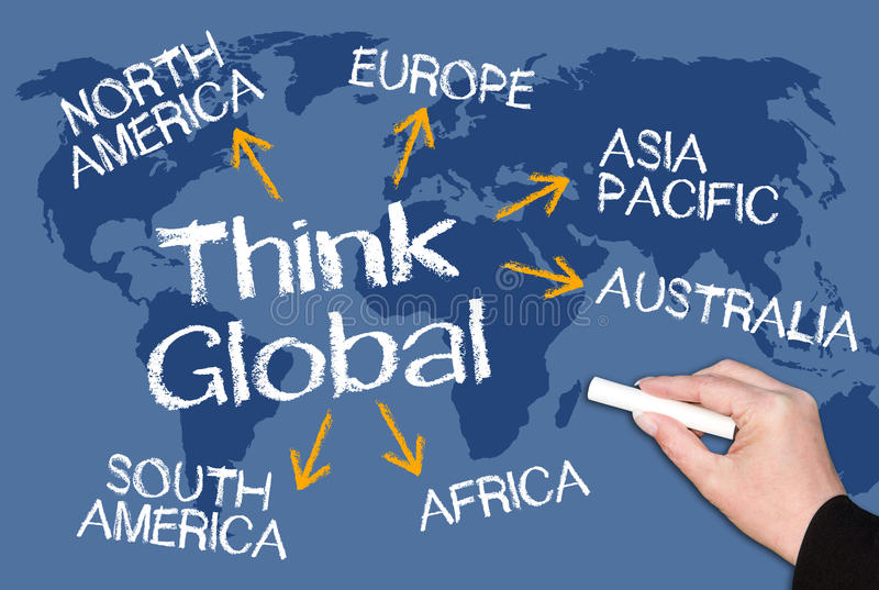 Think global. Text 'think global' in white uppercase text on chalk board over world map with arrows pointing to north and south America, Europe, Asia Pacific royalty free stock photos