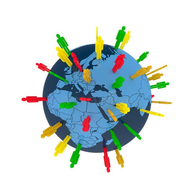 Think global. Colored man symbols placed random on world globe vector illustration