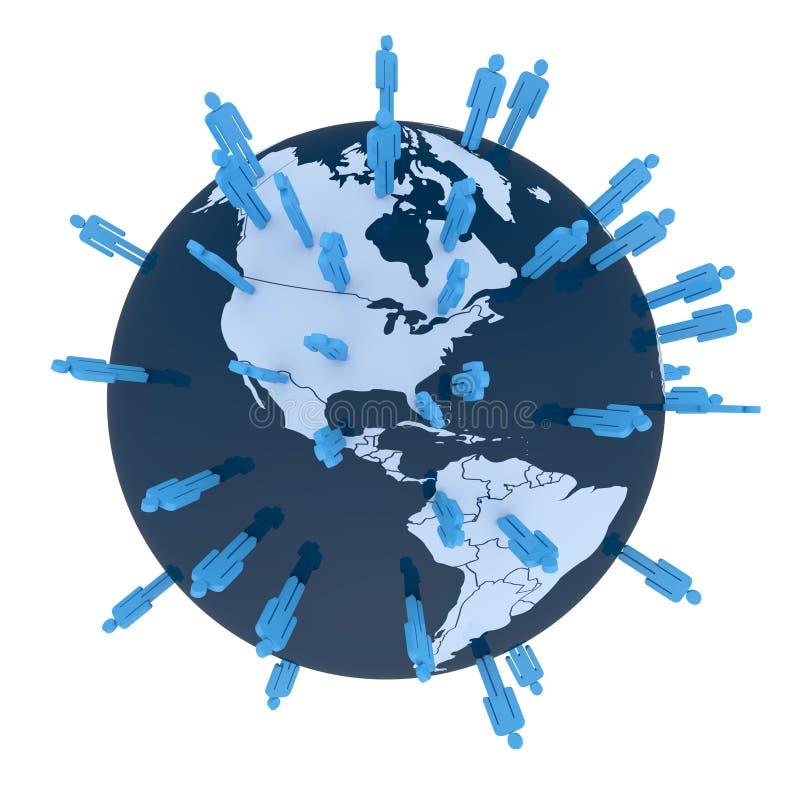 Think global. Colored man symbols placed random on world globe. Americas stock illustration