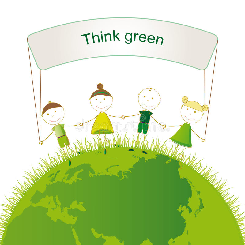 Download Think green stock vector. Illustration of ecology, drawing - 27836460