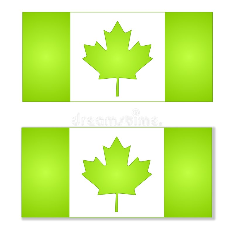 Think Green Canada Flags stock illustration