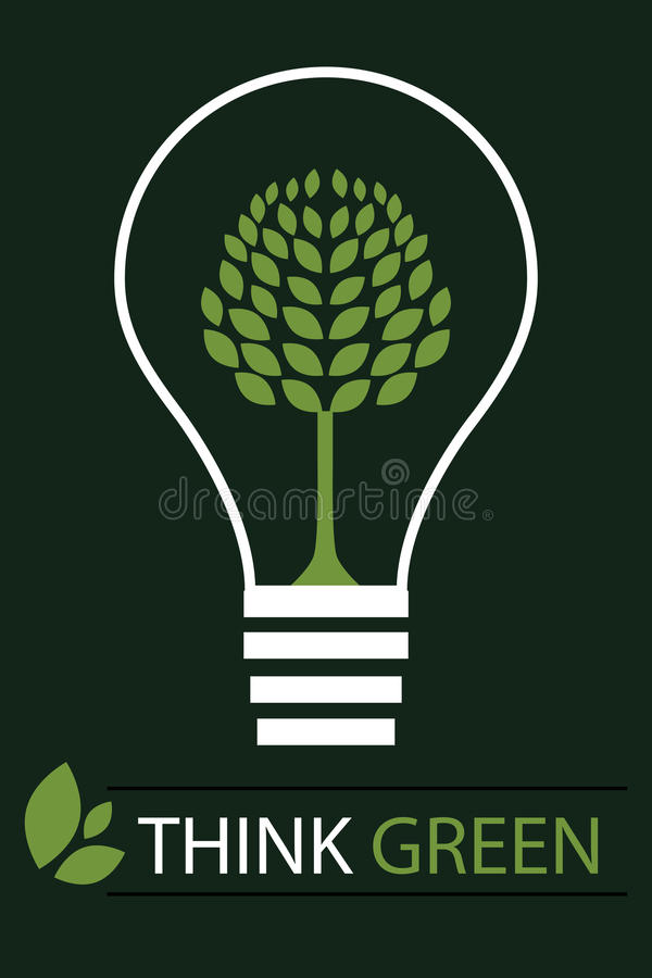 Think green concept background 3 - vector. Illustration of a think green concept with a light bulb containing a green tree.EPS file available.Others similar vector illustration