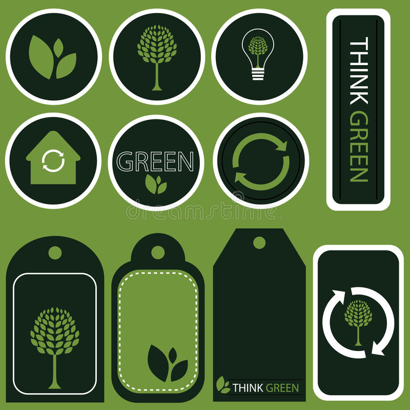 Download Think Green Concept Stickers - Vector Stock Vector - Illustration: 12760652