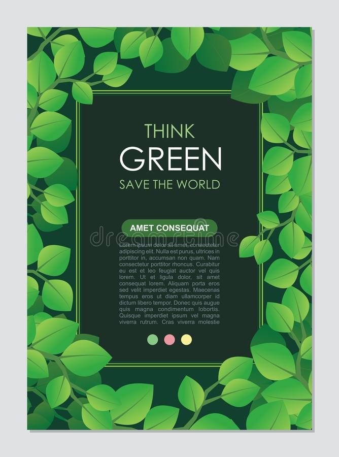 Think Green Frame and border. Go green leaves concept. Stylish Think Green Frame and border. Go green leaves concept. Suitable for Flyer, Brochure, book cover royalty free illustration
