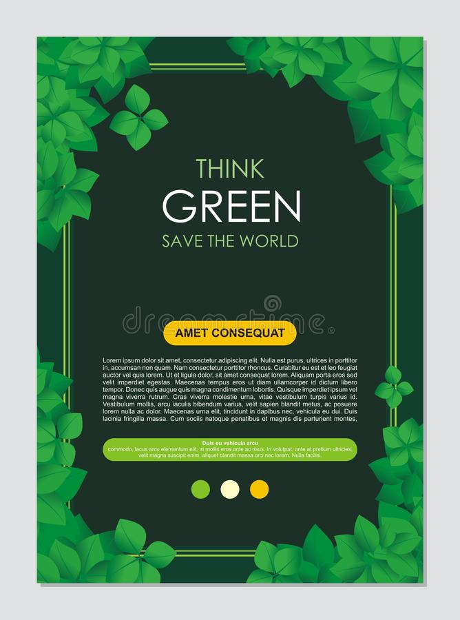 Think Green Frame and border. Go green leaves concept vector illustration