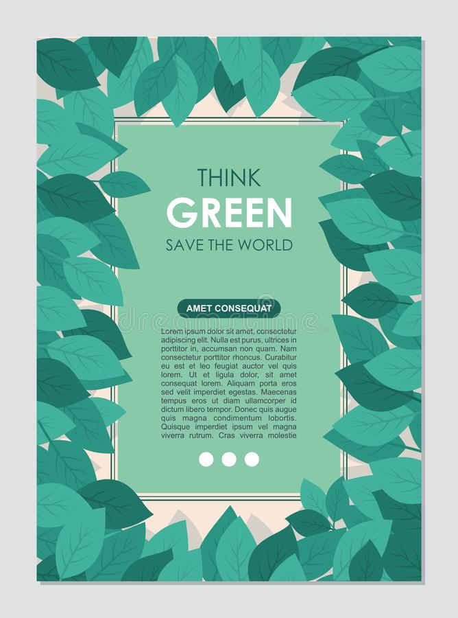 Think Green Frame and border. Go green leaves concept stock illustration
