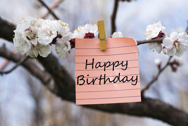 Happy birthday in memo stock photos