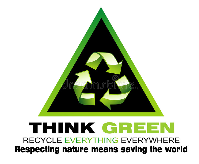 Think Green and Recycle Flayer royalty free stock photo