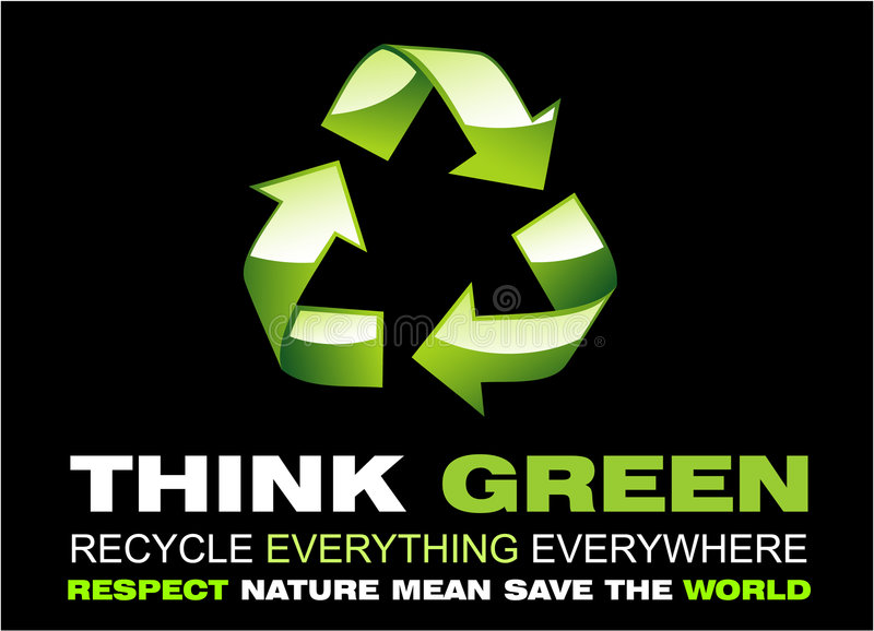 Think Green and Recycle Flayer stock photo