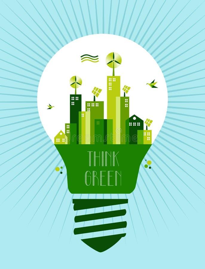 Go green city idea concept royalty free illustration