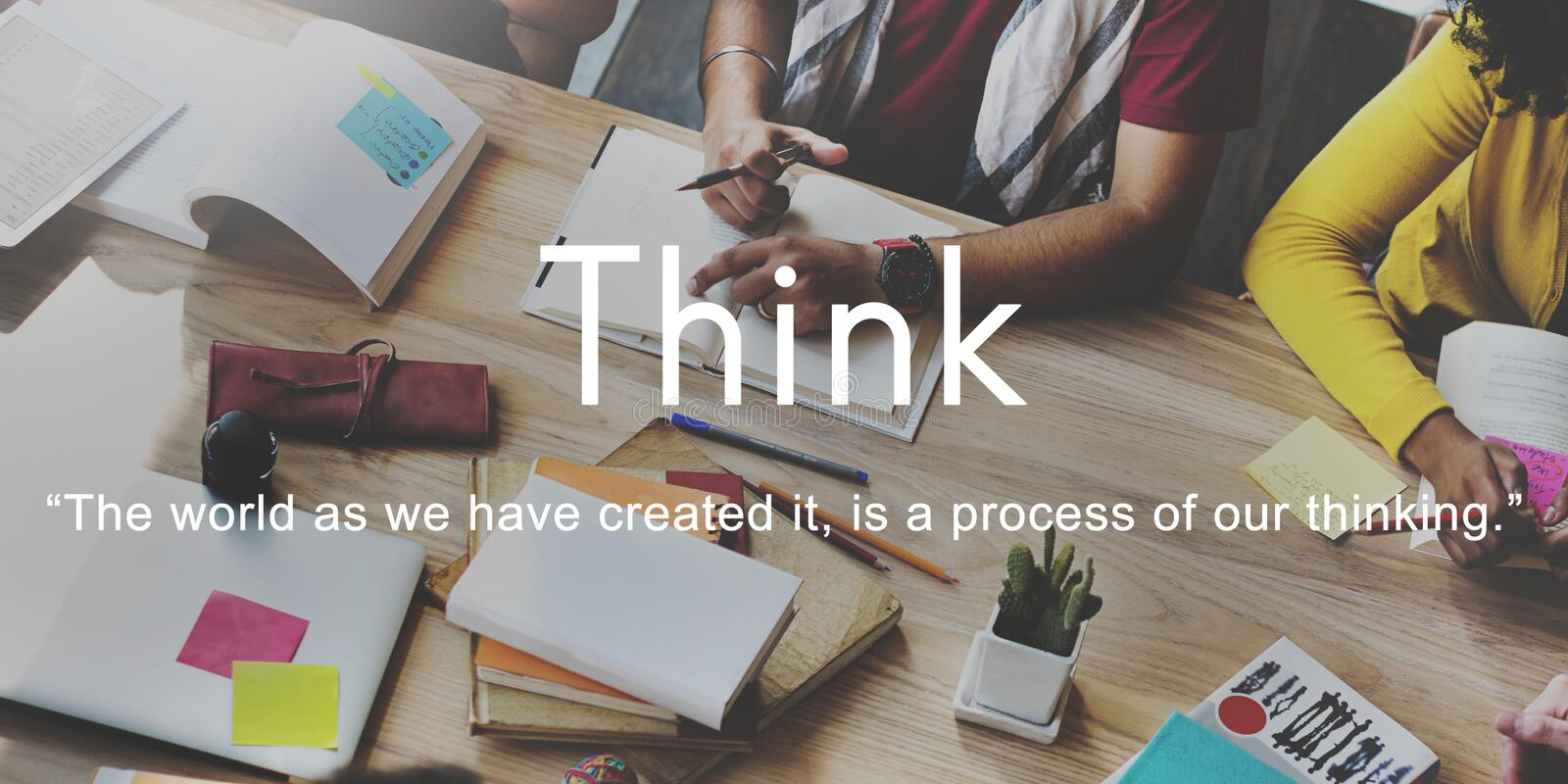 Think Ideas Creativity Strategy Visionary Planning Thinking Concept royalty free stock images