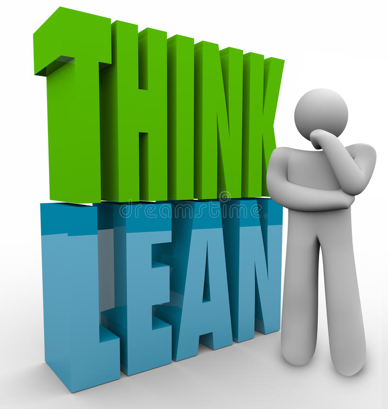 Think Lean Person Thinking Efficient Business Management Product. Think Lean in 3d letters next to a person to illustrate managing or running a new or startup vector illustration