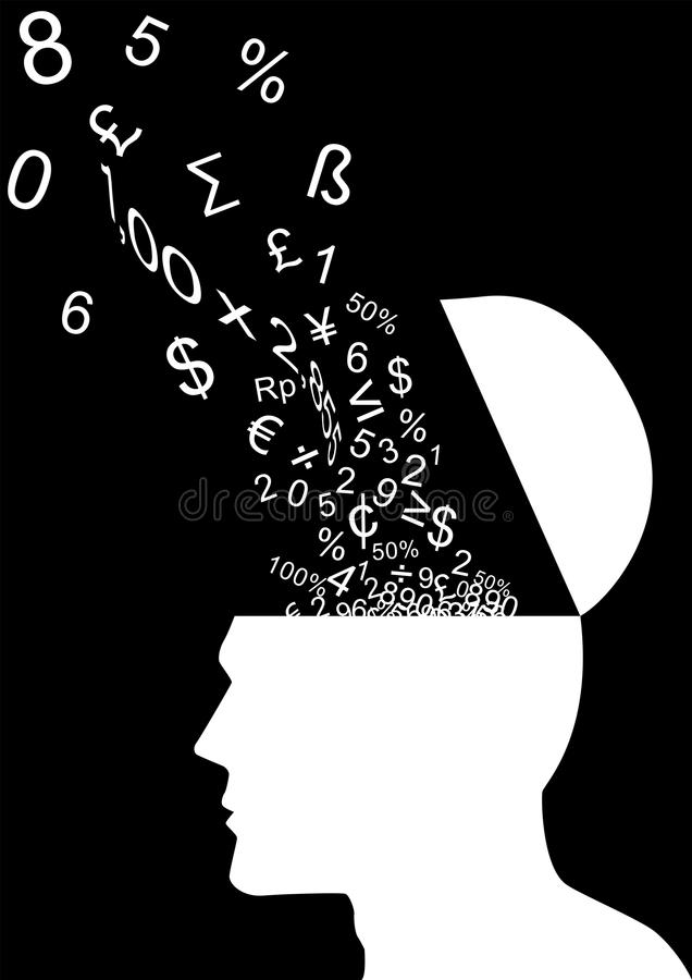 Think Numbers. An illustration of human head gathering numbers stock illustration