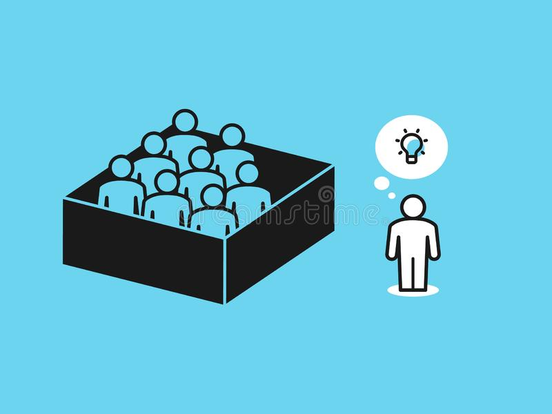 Think out of the box metaphor with people in the box and one person outside the box. Flat design, easy to use for your website or presentation stock illustration
