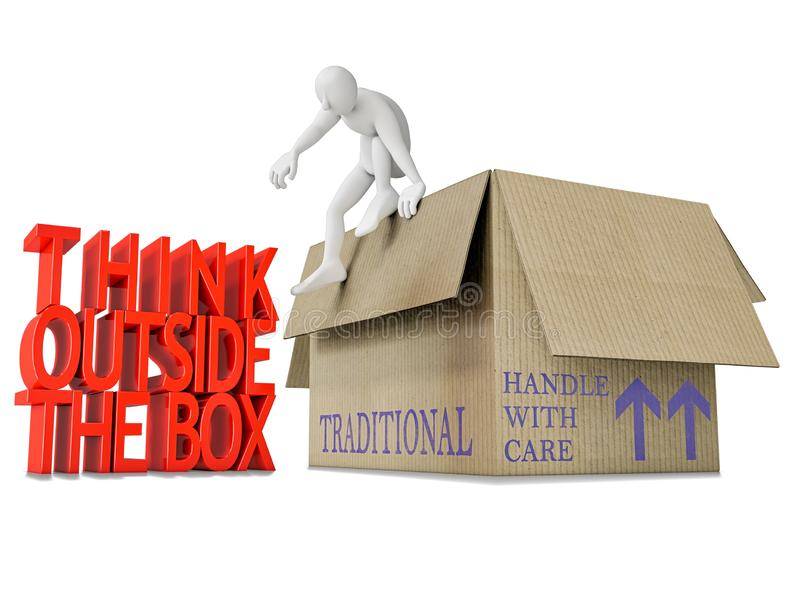 Think outside the box - Blank human character jumping out of the cardboard box with the text think outside the box in red 3D stock illustration